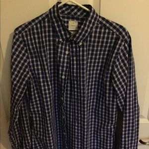 Gap medium button up blue and white